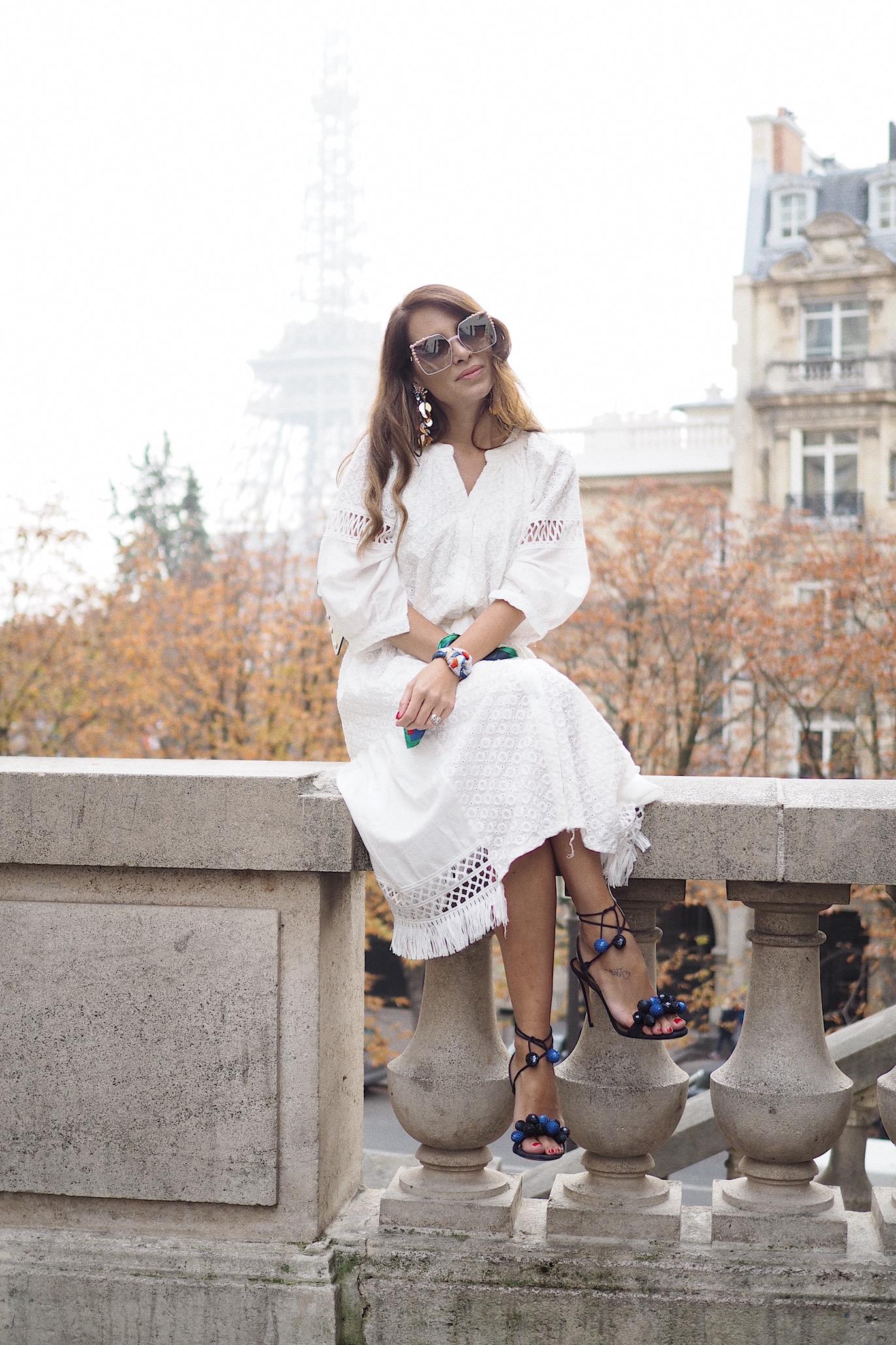 White dress Paris Fashion Week