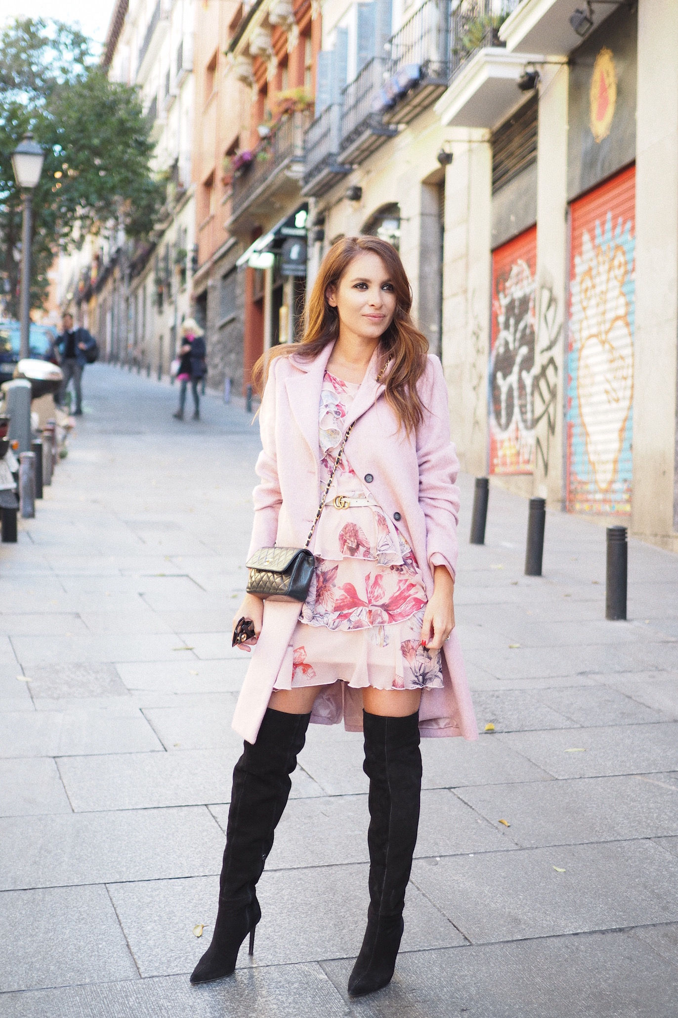 fashion street style high boots pink coat flower dress