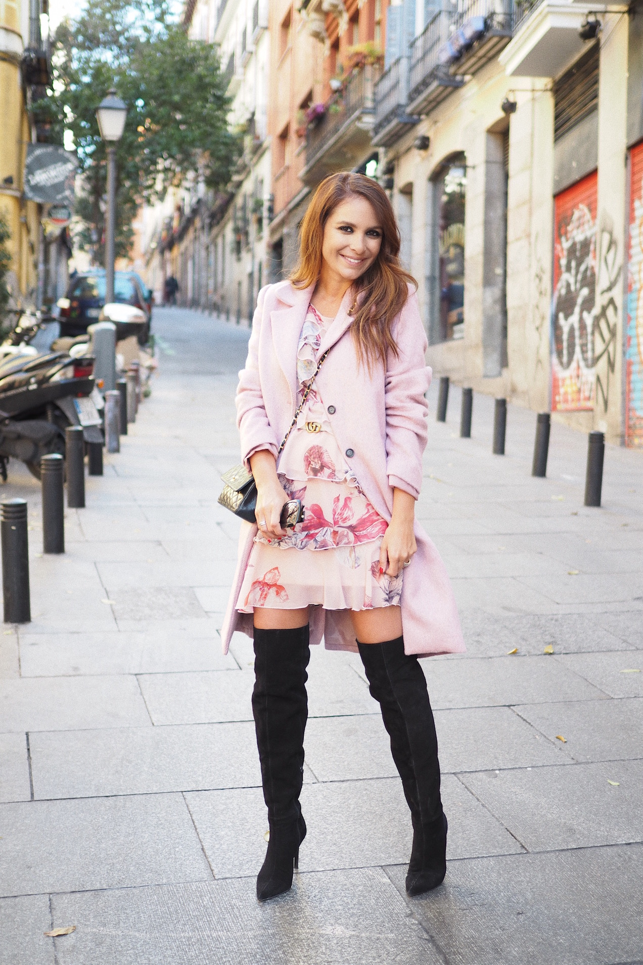 fashion street style flower dress high boots pink coat
