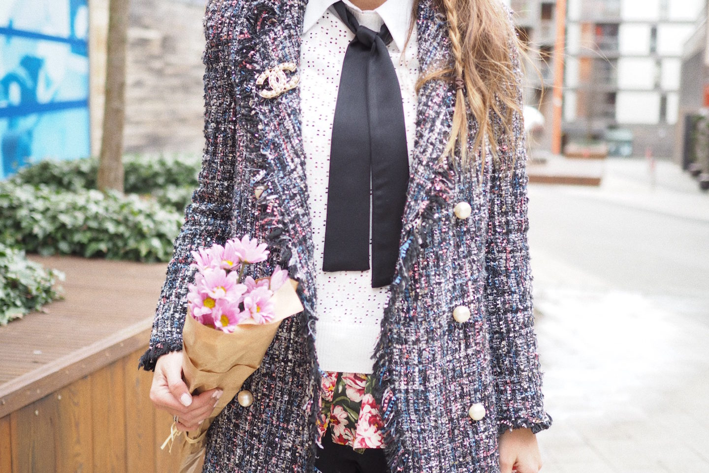 chanel street style zara tweed jacket