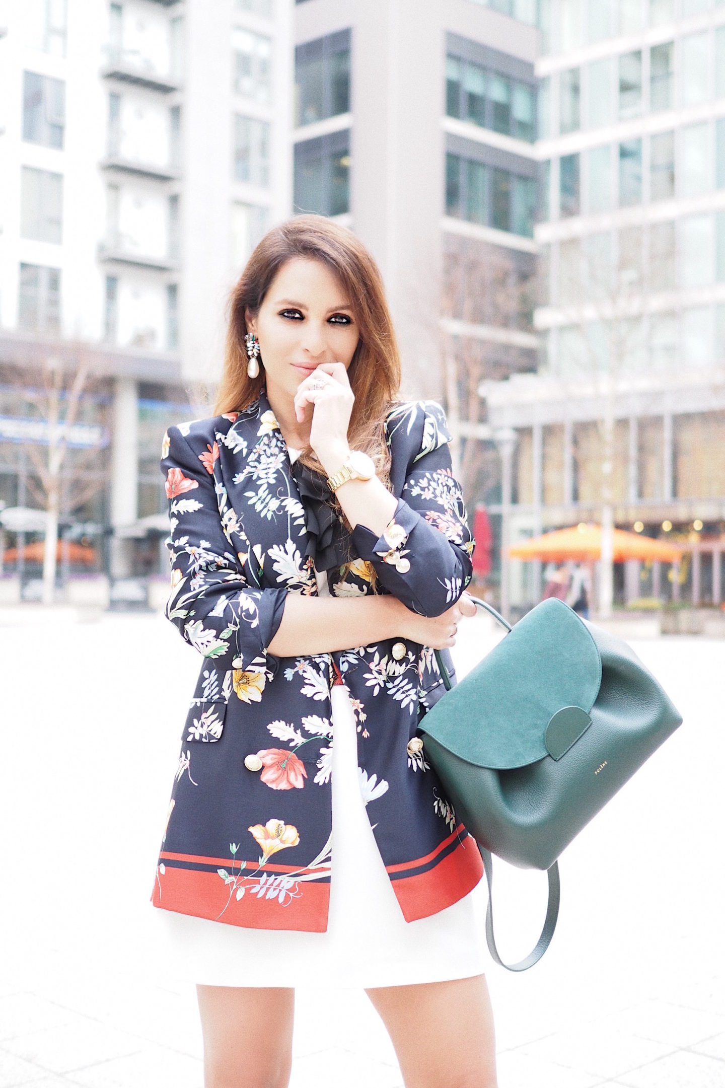 how to wear flower blazer zara daily street style