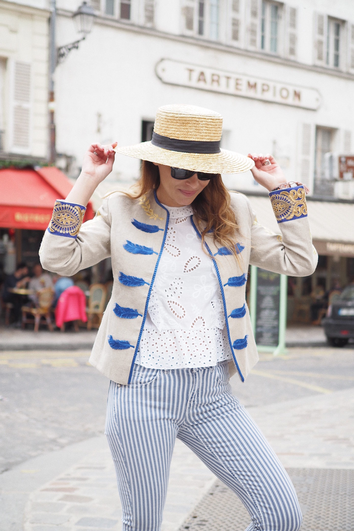 how to style canotier hat spring season street style