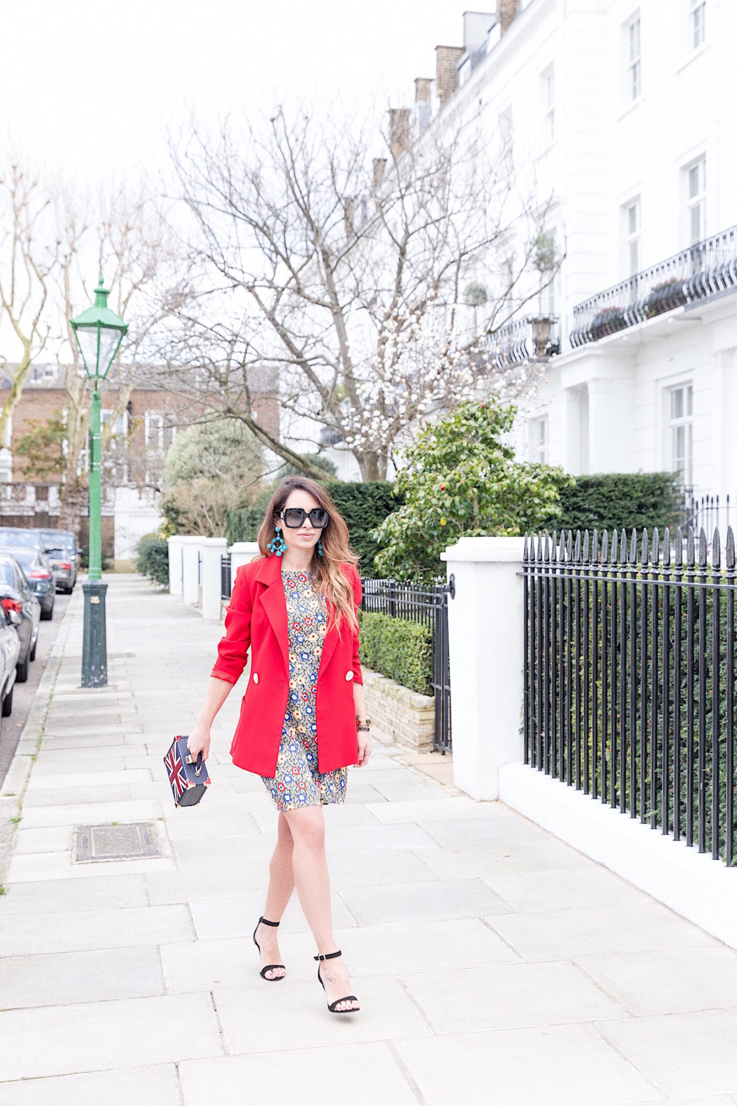 foral dress and red blazer